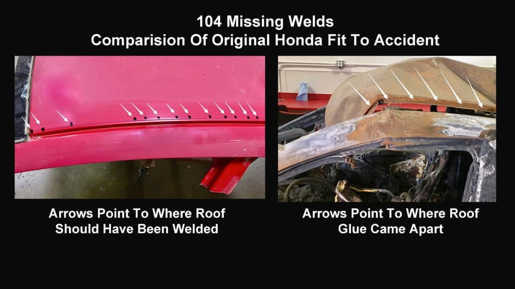 Graphic Shows How John Eagle Collsion Center's Defective Car Repair Using Glue Instead of 104 Spot Welds Failed